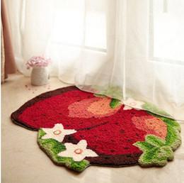 Baños a medida online-Área de impresión de fresa Alfombra Alfombra linda Alfombras para el piso bordadas a mano Alfombras de tocador personalizadas Alfombra de baño pastoral