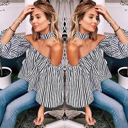 2019 spandex fuori dalle spalle Camicie della camicia della banda della spalla della parte superiore allentata casuale sexy delle donne di modo sconti spandex fuori dalle spalle