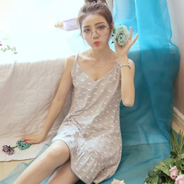 Wholesale Women Cotton Nightdress - girl women Spaghetti strap nightgown female summer 100% cotton thin V-neck sexy sleepwear sweet Character fashion Nightdress