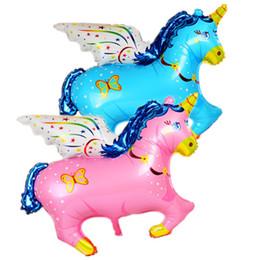 Pferd aufblasbare spielzeug online-große Größe aufblasbare Helium Fly Horse Cartoon Einhorn Baby Folienballons Geburtstag Party Dekoration Aufblasbare Luft Spielzeug