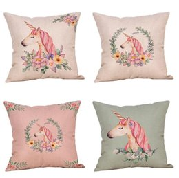 Wholesale Party Pillow - Hot Fashion Vintage Unicorn Pattern Pillow Case Home Party Decoration Cushion Cover Soft Gifts Free Shipping