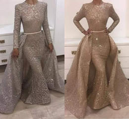 unique sheath evening gowns Coupons - Gold Mermaid Evening Dresses Jewel Long Sleeve Unique Design Evening Gowns Lace With Sequins Beads Crystals Formal Evening Dresses