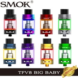 Wholesale lighted tank vaporizer - SMOK TFV8 Big Baby Light Edition 5ml Top Filling Tank Airflow Changeable LED Sub Ohm E Cigarette Atomizer V8 Baby-Q2 T8 X4 Coil Vaporizer