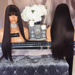 Wholesale long burgundy wig bangs - synthetic glueless front lace long straight with bangs fringe hair lace wig black brown blonde stock