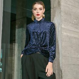 0d31830ca3d9a Discount blue velvet blouse - Women Anomalistic Casual Commuter Shirts  Ladies Temperament Fashion Lapel Velvet Shirt