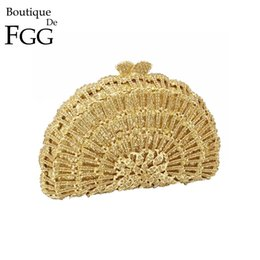 Wholesale Handbag Transparent Crystal - Boutique De FGG Dazzling Gold Crystal Evening Minaudiere Clutch Purse Women Wedding Party Diamond Handbag Metal Clutches Bag
