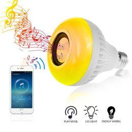 Беспроводной пульт дистанционного управления 12 онлайн-E27 Wireless Bluetooth Speaker Bulb Music Playing Dimmable LED RGB Music Bulb Light Lamp with 24 Keys Remote Control