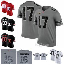 Wholesale Camo Football - Custom 2018 Ohio State Buckeyes Gray White with Black Camo Jerseys 2 Dobbins 16 Barrett IV NCAA College Football Jerseys S-3XL