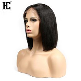 Wholesale Natural Brown Black Peruvian Hair - Short Bob Wigs Brazilian Virgin Hair Straight Lace Front Human Hair Wigs For Black Women Swiss Lace Frontal Wig HC Hair