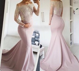 Wholesale Transparent Back Lace Prom Dress - 2018 Decent Off The Shoulder Mermaid Prom Dresses Long Sleeve Stain Pattern Button Transparent Sexy Back Evening Pageant Dresses