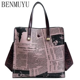 newspaper bags Coupons - New women's leather bag 2018, printed monogrammed tote bag, vintage newspaper designer style one-shoulder crossbody party bags