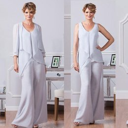 Wholesale winter wear outfits - Ursula 2017 Cheap Mother Of The Bride Pant Suits Chiffon Beach Wedding Groom Wear V Neck Outfit Cheap Garment