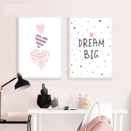 Pittura di cuore rosa online-Pink Heart Elephant Canvas Pittura Wall Art Cartoon Poster vivaio Stampe Nordic Kids Decoration Immagini Baby Bedroom Decor