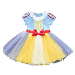 alice tutu Promo Codes - Alice Princess Snow White Dress Baby Girls Dresses Puff Sleeve Tulle Party Dresses Chistmas TuTu Dress Mermaid Costume