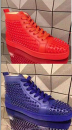 Wholesale Man Spike Street Shoe - High Quality Red Bottom Shoes Red Blue Glass Spikes,Men High Top Sneakers Studded Lace-up Flat Street Skate Luxury Design