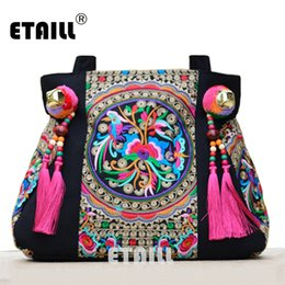 Wholesale Hmong Bags - National Trend Chinese Ethnic Embroidery Canvas Bag Hmong Boho Thai Tassel Embroidered Bags Luxury Famous Brand Logo Handbags