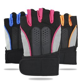 Homens Mulheres Anti-skid Ginásio Respirável Luvas Body Building Training Sport Haltere Exercício de Fitness Luvas de metade do dedo de