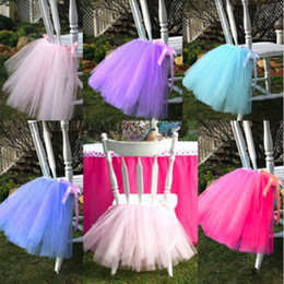 Wholesale Tutu Wedding Decorations - 50cm*45cm European Style Chair Tutu Skirt Lovely Ruffles Wedding Decorations Chairs Covers Birthday Party Supplies Hot Sale 18mr Y