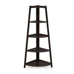 Wholesale Furniture Stands - 5 Tier Artistic Corner Shelf Stand Wooden Display Storage Home decorative Furniture Black