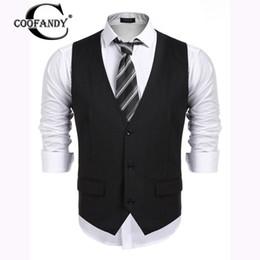 Wholesale men s gray dress vests - COOFANDY 2017 Male Clothes Newest Men Button up Business Slim Fit Suit Dress Vest Waistcoat US Size