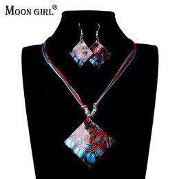 Луна девушка 3D печать пресной воды Shell Богемия стиль ювелирные наборы для женщин мода веревка цепи колье ожерелье / серьги от