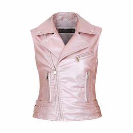 b7f2b3b25dc Ladies Novelty Motorcycle Women faux Leather Vests Zippers embossed PU Vest  Slim tactical Rivet female European Outwear