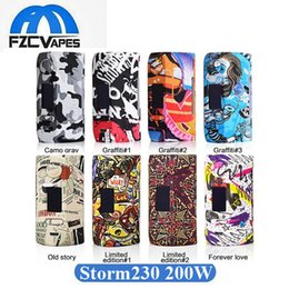 Wholesale metals weights - Authentic Vapor Storm230 200W Storm 230 Box Mod Light Weight E Cigarette Vape Mod Graffit Style Dual 18650 Mod