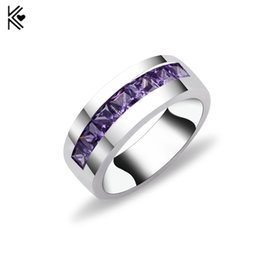 Wholesale White Zircon Ring For Men - 2018 Male Copper Ring With A Row of Purple Crystal Zircon Retro Party Wedding Rings For Men Bague Homme Vintage Jewelry Anel