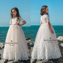 Wholesale Satin Sashes For Dresses - 2018 Princess Lace Tulle Flower Girl Dresses Short Sleeves Jewel Neck Appliques with Bow Sash A Line Kids Formal Dresses For Weddings