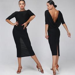 2019 eislauf-marken Erwachsene / Mädchen Latin Dance Kleid Salsa Tango Chacha Ballsaal Wettbewerb Praxis Tanzkleid Schwarz Sexy Halter Langarm Langes Kleid