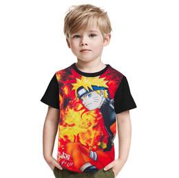 Naruto shorts online-2017 Naruto Anime Gedruckt Kinder T-Shirt Uzumaki Naruto T-shirt Für Kinder Jungen Sommer Tees Baumwolle Kurzarm T-shirt Baby Tops
