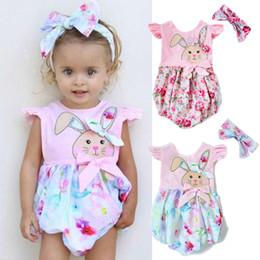 2019 mameluco de conejo Bebé niña de verano onesies wiith diadema de conejo mameluco mono traje ropa para niños encantadora floral animal rosa mono traje de sol 0-24M mameluco de conejo baratos