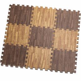 Alfombras de color beige online-16pcs Beige / Marrón / Blanco suave Eva Puzzle impermeable alfombra para niños, niños, bebé, grano de madera que se enclavija espuma anti Fatigue Floor Mat