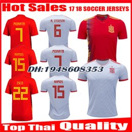 d8445f2e7 2018 2019 Spain World Cup Espana Morata Soccer Jersey A.INIESTA FABREGAS  RAMOS DIEGO COSTA SILVA ISCO Home red away jerseys Football shirts discount  white ...