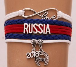 Wholesale france jewelry - Drop Shipping Infinity Love Russia France Russia 2018 world cup Bracelet & Bangles Leather National Flag Bracelet Jewelry Gift For Women Men