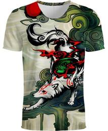 Elefantdruckt-shirt online-Neue T-Shirt 3D Print Tier T-Shirts Mode Kurzarm Männer Frauen Unisex Elefant T-Shirt Fuchs T-Shirt S-5XL 8 Styles