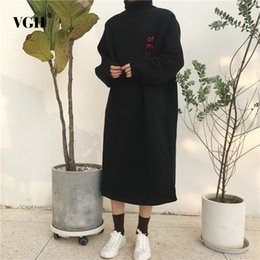 Wholesale long turtleneck dress for women - VGH Letter Embroidery Turtleneck Dresses For Women Batwing Sleeve Patchwork Long Dress Female Pullover Loose Top Clothes Fashion
