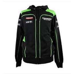 Wholesale Moto Gp Jacket - Free shipping Men's Clothing Cotton Coats Kawasaki Hoodies Sweatshirts Moto GP Motorcycle Hoodies Casual Dirt Bike Long Sleeve Warm Jacket