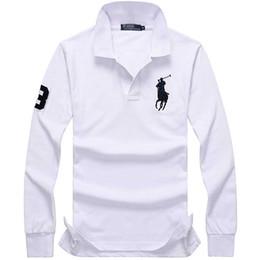 Lange fahnen online-Dan ma Flagge Langarm Herren T-Shirt Revers Business Casual Revers reine Baumwolle einfache Mode Joker Langarm Herren wea