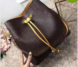 Wholesale Brown Bucket Handbags - 2018 shoulder bags Noé leather bucket bag women famous brands designer handbags high quality flower printing crossbody bag purse TWIST