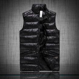 Wholesale Slim Down Jacket - Free send M6609 Men's MONCLE cotton wool collar hooded down vests sleeveless jackets plus size quilted vests Men PAUL vest vests outerwear
