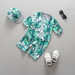 Wholesale Kids Fashion Wear Boys - Top quality Green leaf full print boys Sunscreen swimsuit kids fashion beach wear with hat cap children boy girl sun-protective clothing