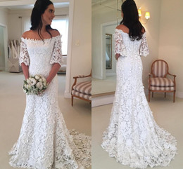 Wholesale wedding dresses off shoulder style - 2018 Vintage Bohemian A Line Beach Wedding Dresses Off The Shoulder Full Lace Half Long Sleeves Country Style Bridal Gowns Cheap