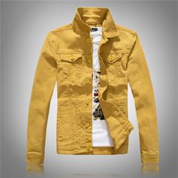 Jeans di colore maschile online-Cappotto di jeans giallo uomo tinta unita Jeans casual cappotto monopetto giacca a vento slim maschio Streetwear 2018 primavera autunno D2838