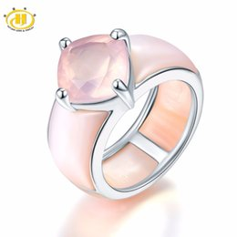 66954bb2988535 Hutang Natural Gemstone Rose Quartz Wedding Ring Solid 925 Sterling Silver  Fine Fashion Stone Jewelry Unique Design For Gift New Y18102610