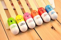 Wholesale Pen Pills - Creative Mini telescopic pill pen can be customized for logo Cartoon adorable expression capsule pen advertising pen gift