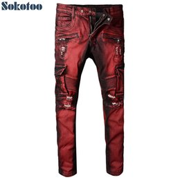Wholesale Stripe Pocket Jeans - Sokotoo Men's red pocket cargo biker jeans for motorcycle Slim holes ripped distressed stretch denim pants