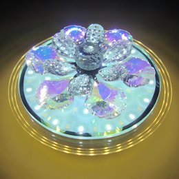 Wholesale Led Gear Knobs - New Round LED third gear change crystal aisle lights modern entrance corridor home lighting