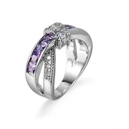 Wholesale amethyst engagement rings white gold - New Cross Purple Amethyst Cubic Zirconia White Gold Plated Rings Size 6 7 8 9 10 Women Men's Engagement Gift