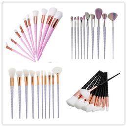Wholesale wholesale fan brushes - 10 pieces set of unicorn spiral makeup tools multi-functional fan brush foundation brush foundation eye shadow brush